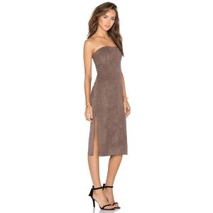 Halston Heritage Brown Suede Strapless Dress